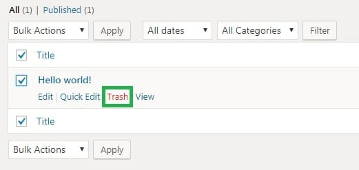 Wordpress step 2 clicking trash link under the post you want to delete