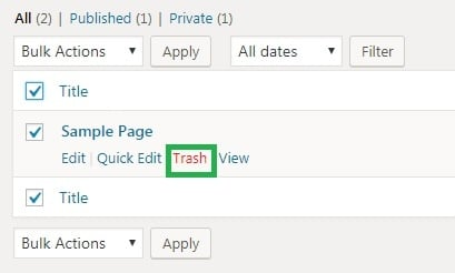Wordpress step 4 clicking trash link under the page you want to delete