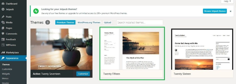 wordpress step 2 click on themes you want to delete
