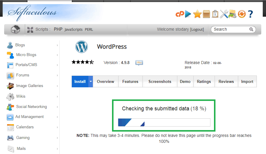 siteground step 8 wait for installation - How To Install WordPress