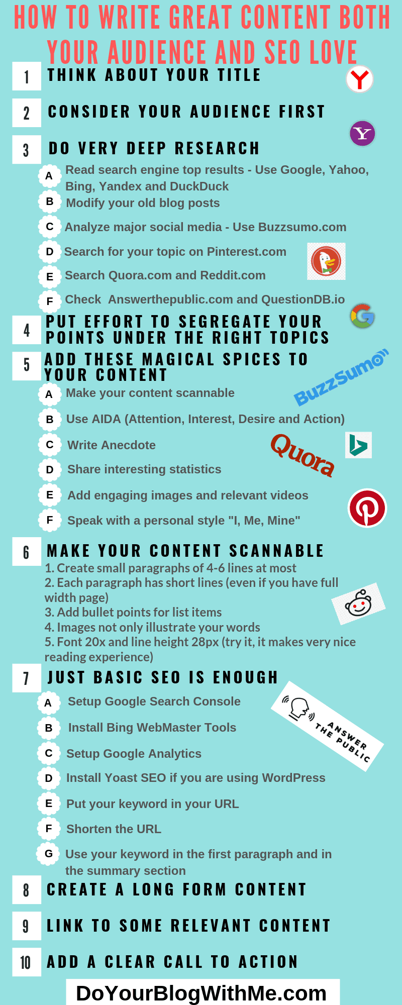 Infographics on how to write great blog posts content