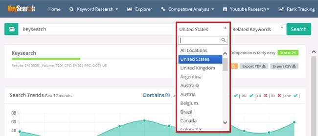 Locations under Keyword research in key search tool