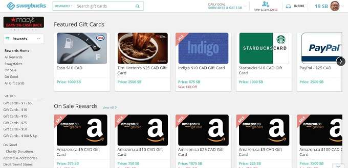 Swagbucks redeem options with ability to transfer your money to PayPal