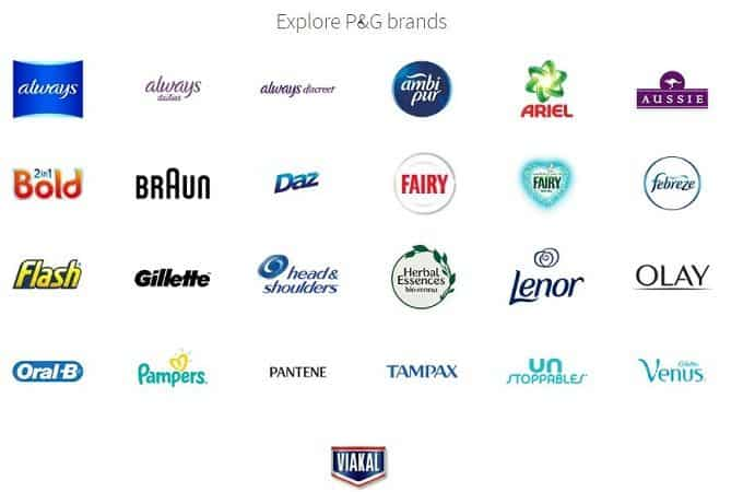 All Proctor and Gamble brands offering free stuff online