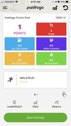 get paid to walk from paidtogo dashboard