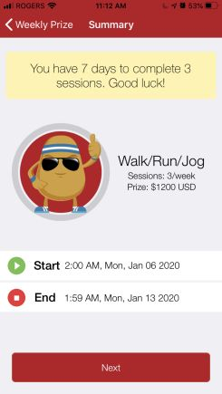 get paid to walk 7 days competition