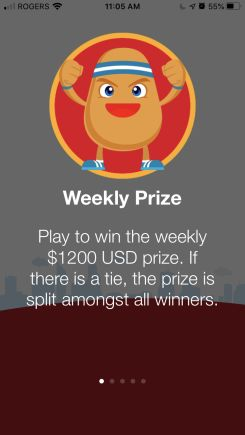 fitpotato weekly prize - get paid to walk