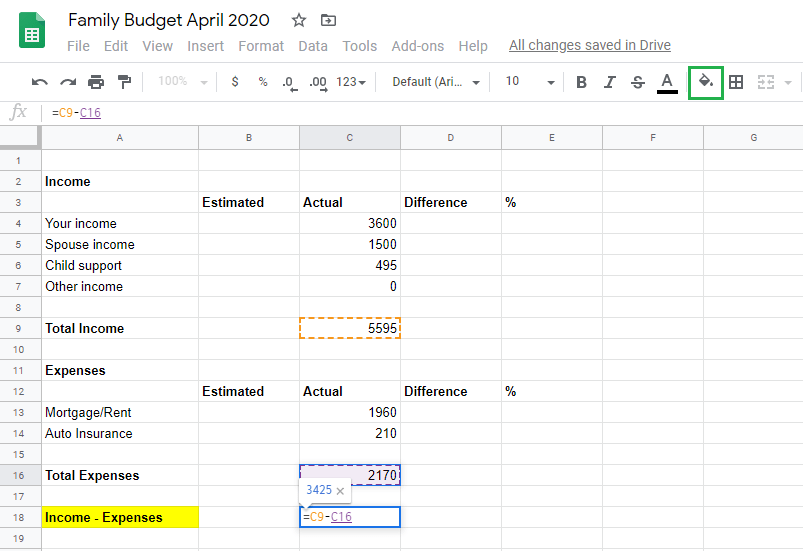 Google sheet adding expenses and net total