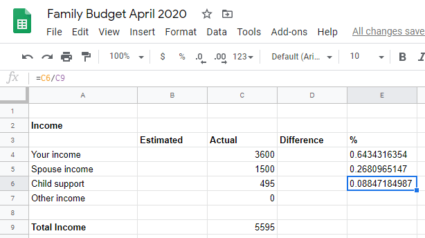 Google sheet calculating all percentages