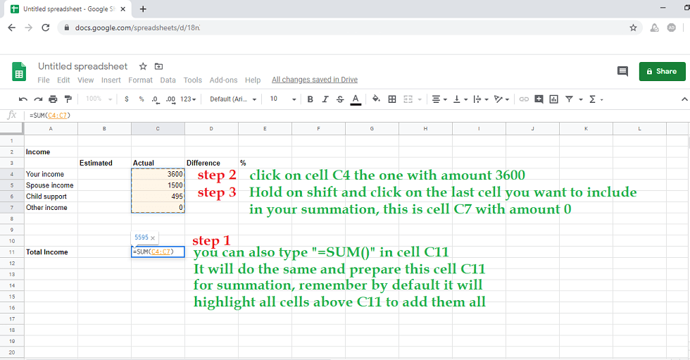 Google sheet finishing the summation process for total income