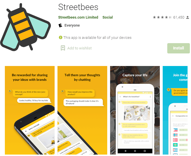 streetbees also pays your money to your PayPal instantly