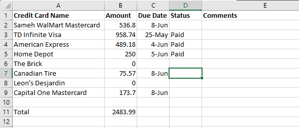 amount paid for all credit cards